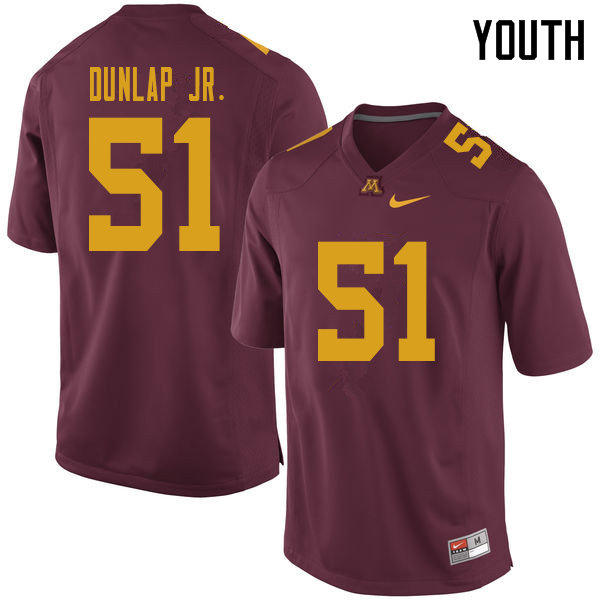 Youth #51 Curtis Dunlap Jr. Minnesota Golden Gophers College Football Jerseys Sale-Maroon